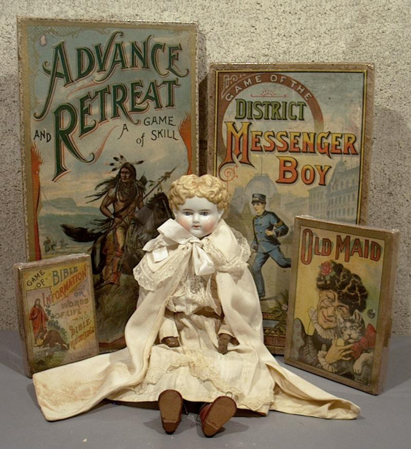 Angus Antiques boxed games and dolls