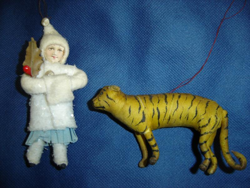 Cotton Batting child and spun cotton tiger from Elves Antiques