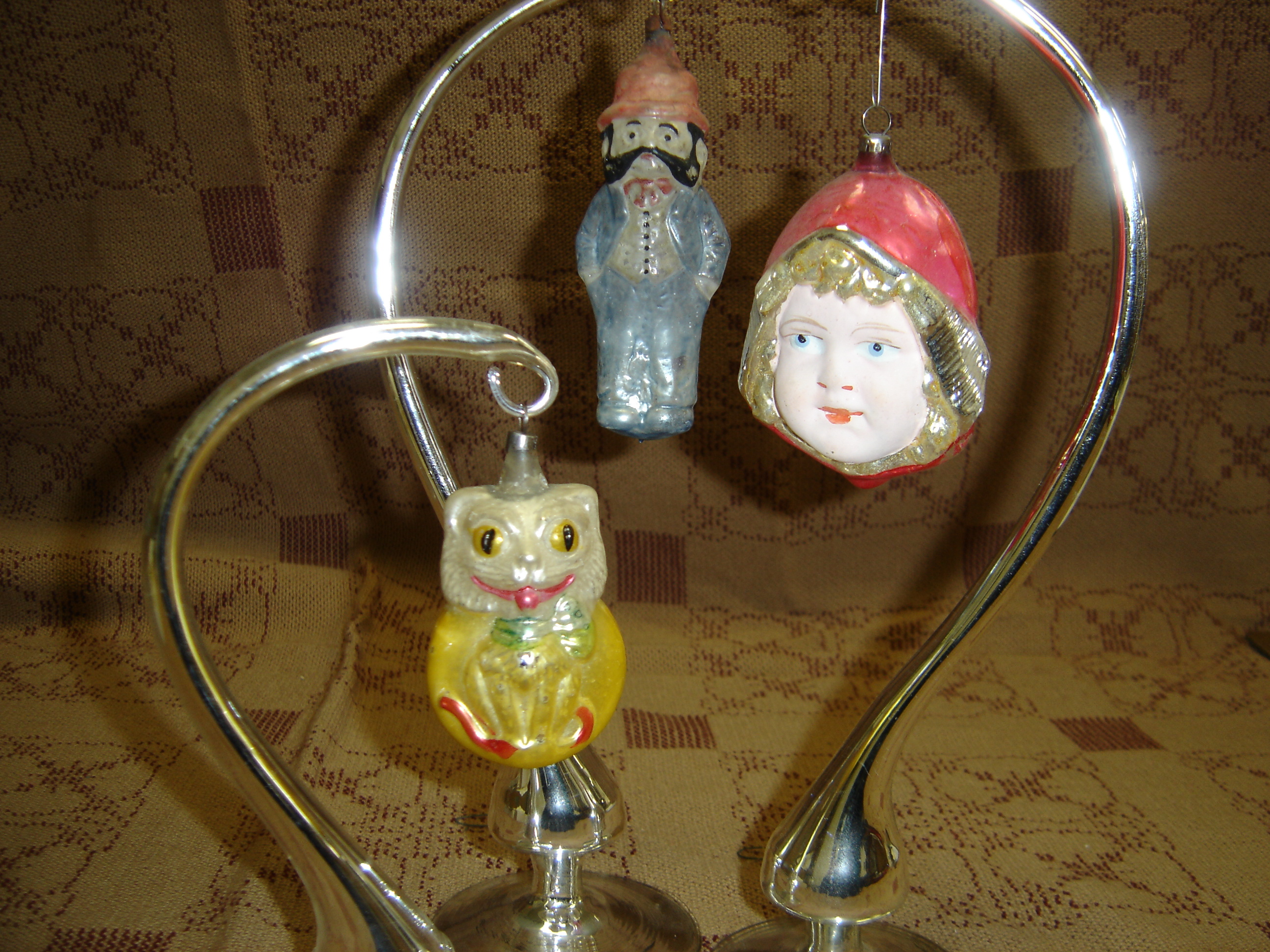 Early blown glass, hand-painted ornaments from Elves Antiques