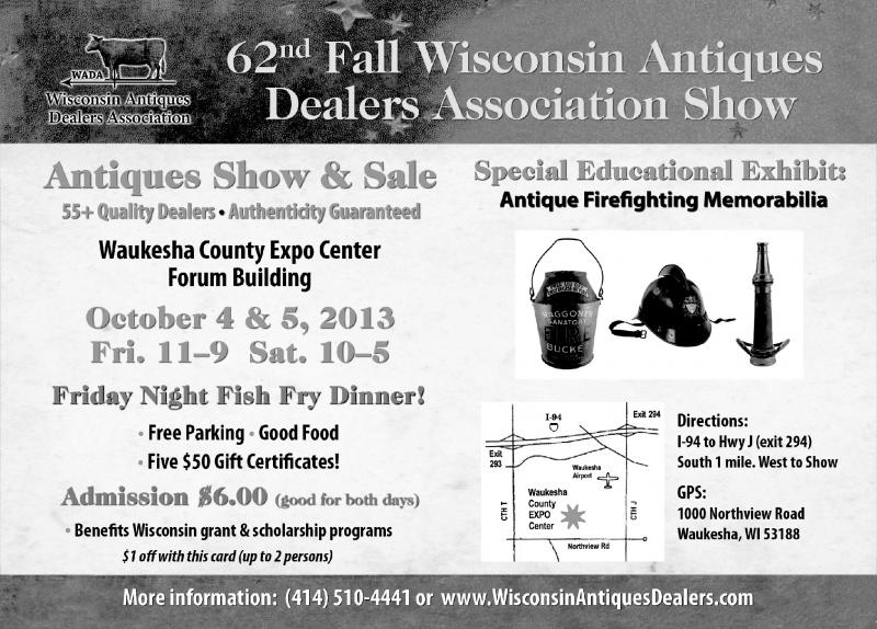 Discount Coupon for October 4 & 5, 2013 Antiques Show